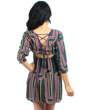 My Beloved Retro Quarter Sleeve Dress With Tied Criss-Cross Open Back