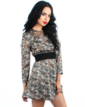 Lumiere Womens Printed Silk Dress with Cage Neckline