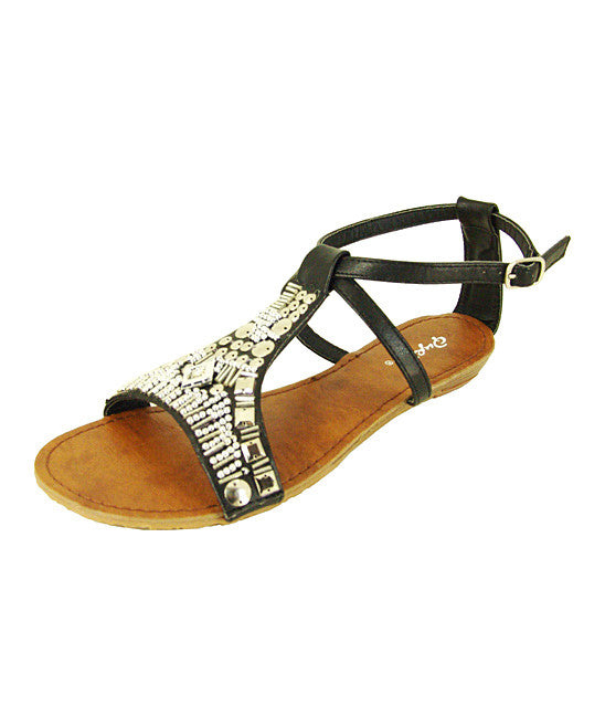 Qupid Womens Black Gleam Sandals
