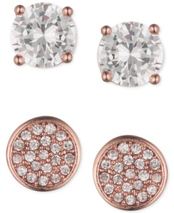 Anne Klein Rose Gold-Tone Duo Stud Earrings Set