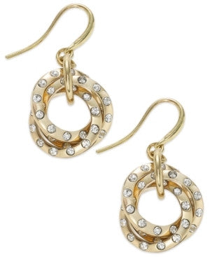 Alfani Gold Tone Crystal Knot Drop Earrings