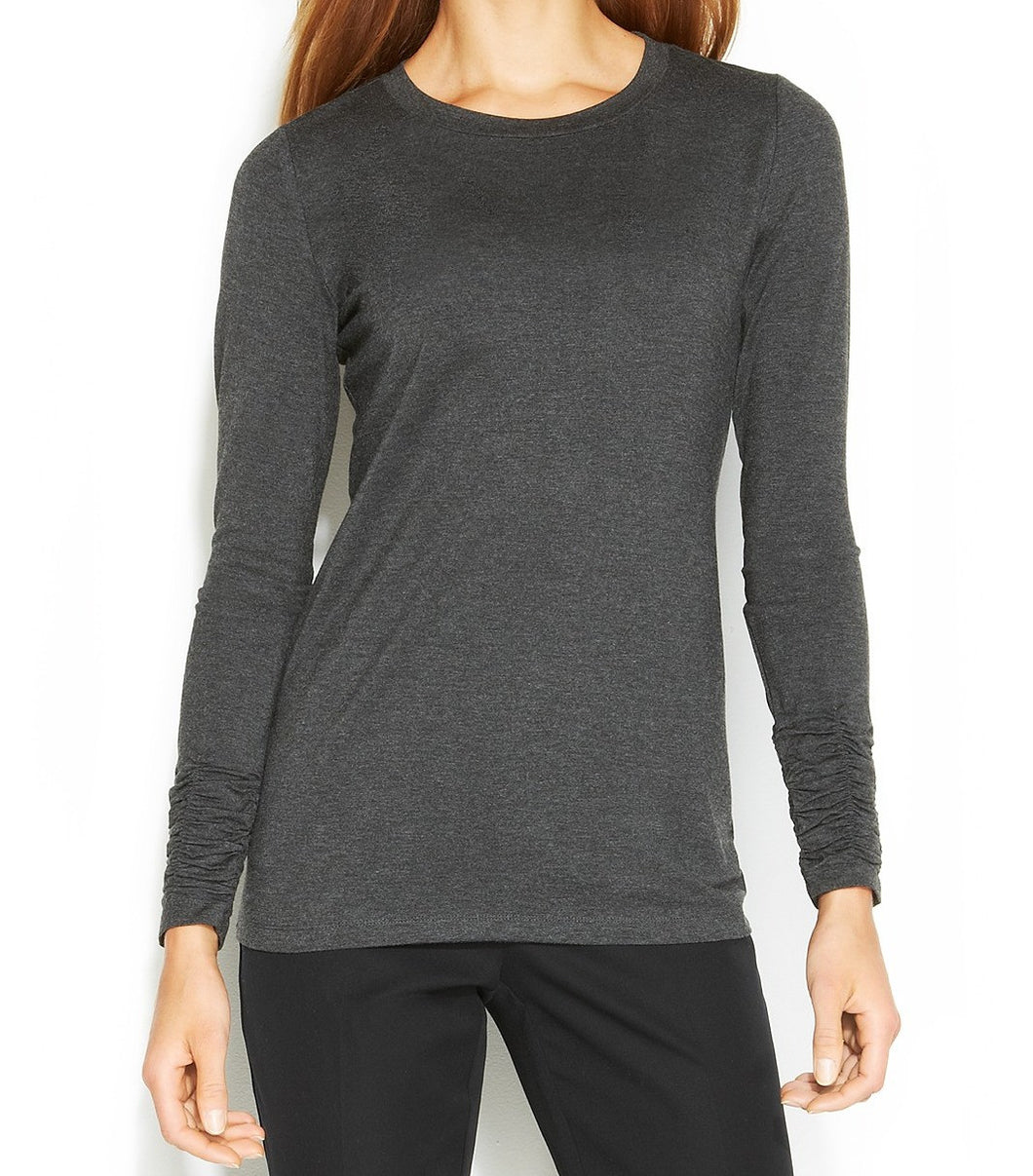 Alfani NEW Gray Women's Crewneck Long-Sleeve Ruched Knit Top XL