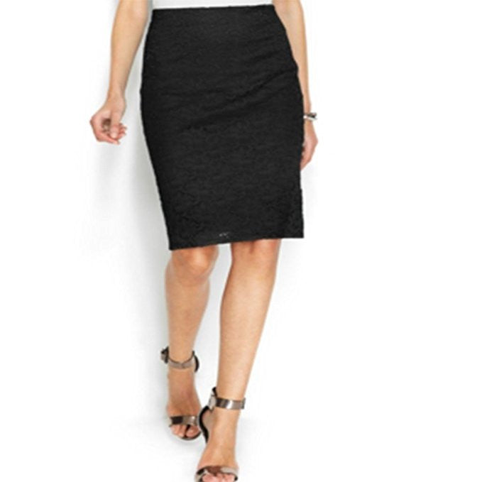 Alfani Womens Lace Pencil Skirt Deep Black Size 4