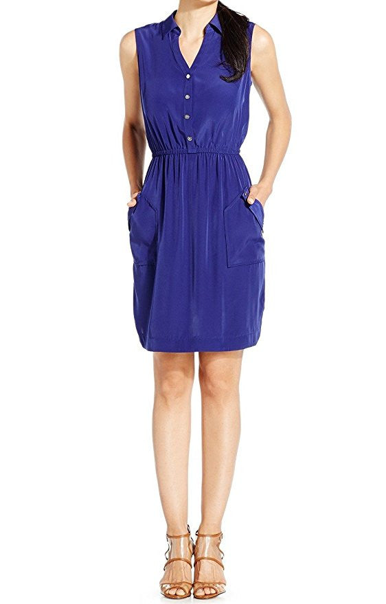 Alfani Violet Women's Pocketed Solid Shirt Dress Blue