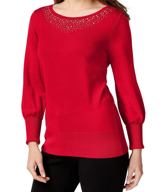 Alfani Womens Knit Embellished Pullover Sweater