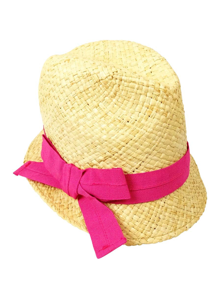 AQUA Brand Bettina Women's Straw Fedora Hat with Pink Bow