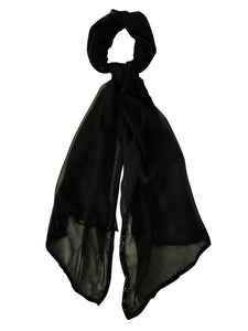Aqua Women's Solid Color Bead Trim Sheer Scarf Black