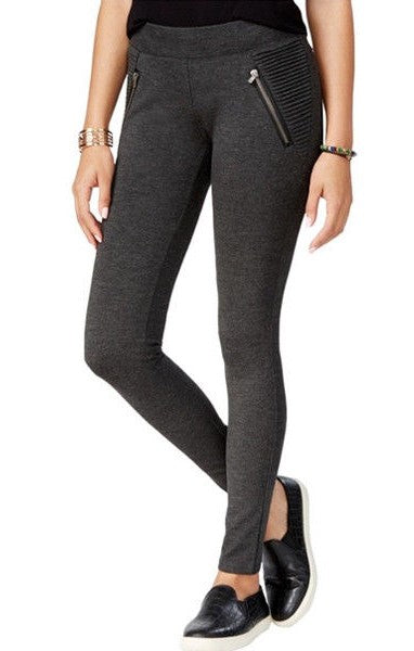 American Rag Ponte Zipper Leggings Charcoal XS