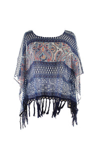 American Rag Blue Multi Printed Sheer Poncho Top M-L