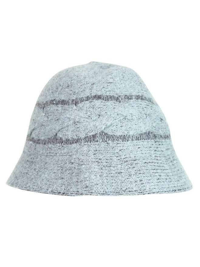 August Accessories Women's Cable Knit Cloche Grey
