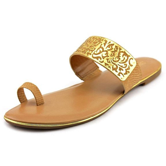 Bar III Vienna Flat Toe Thong Sandals Dark Tan Size 7M