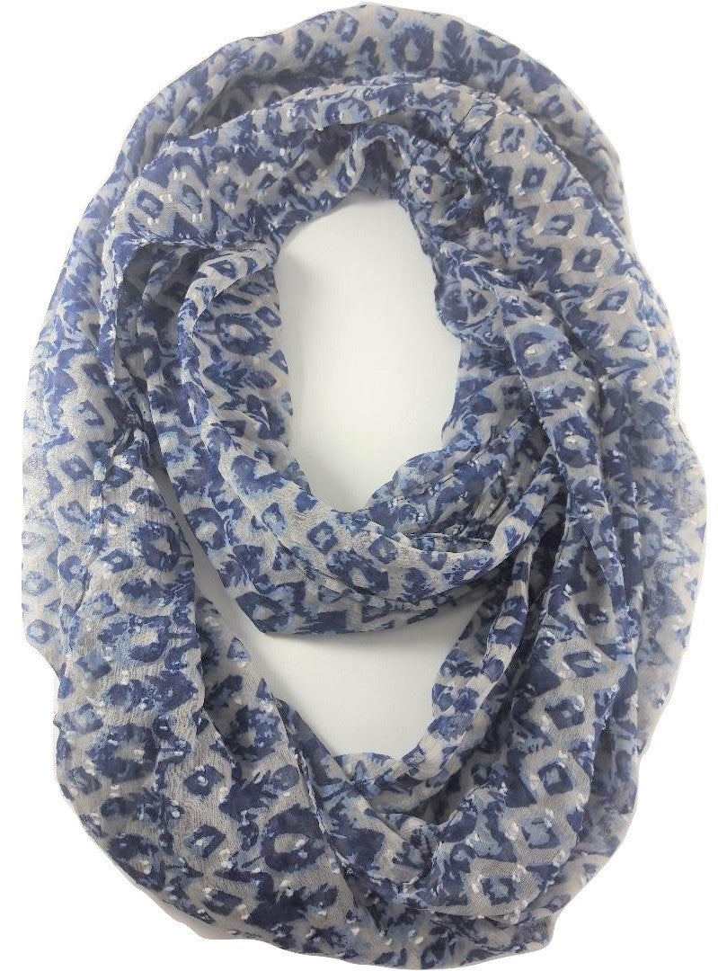 Big Buddha Navy Feather and Flower Infinity scarf