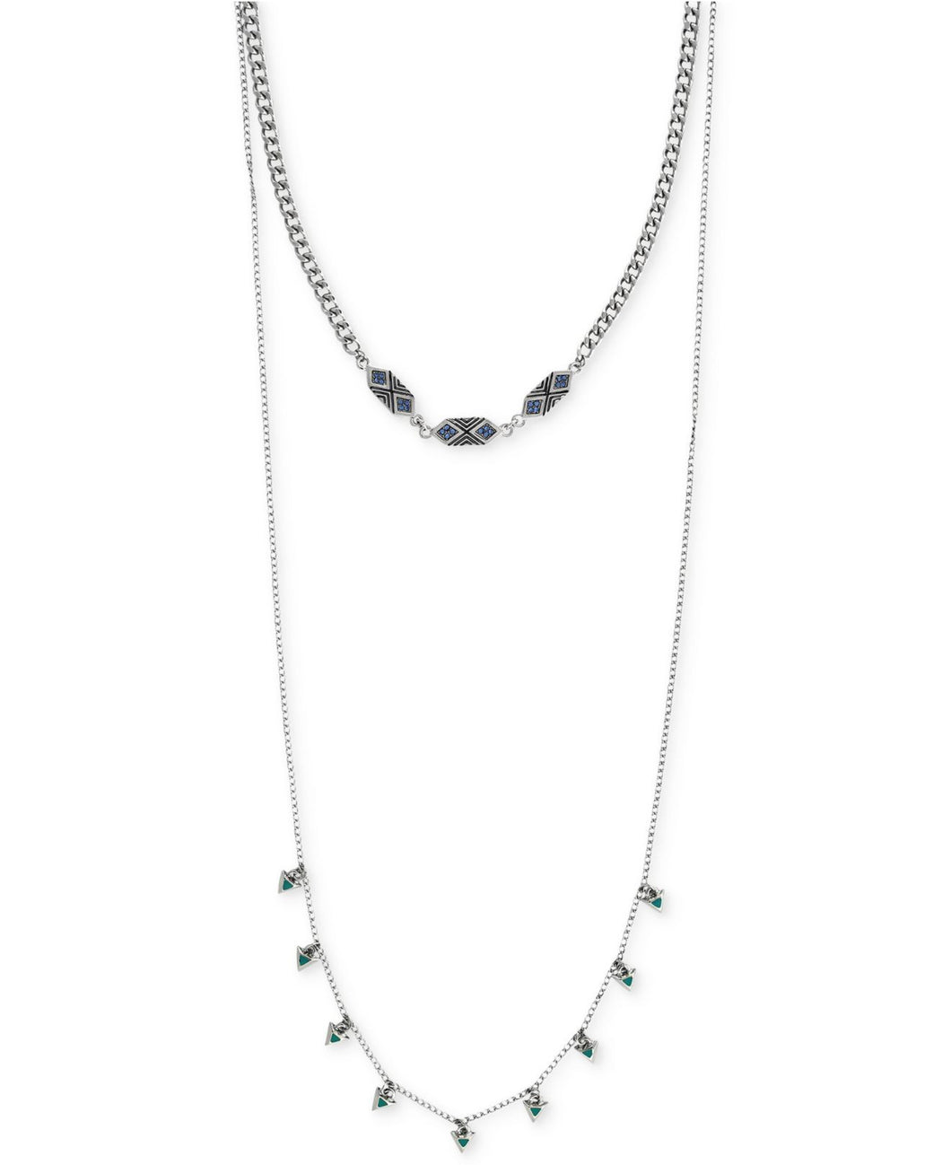 BCBGeneration Women's Metallic Silver-tone Geometric Accent High-low Necklace