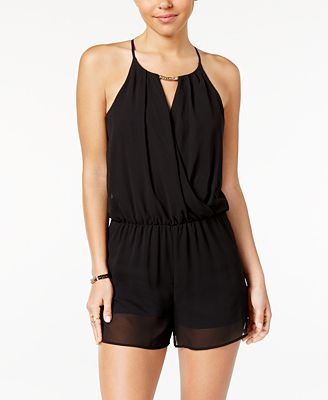 BCX Juniors Hardware-Trim Faux Wrap Romper Black XS