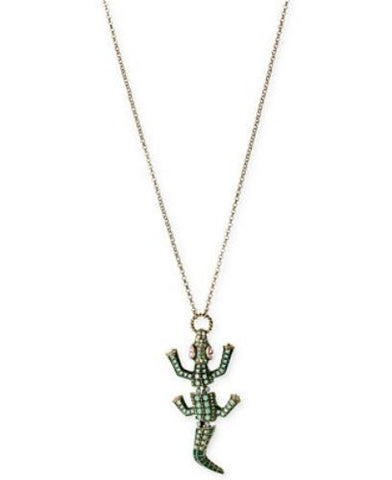 Betsey Johnson Brass-Tone Moving Crocodile Long Pendant Necklace