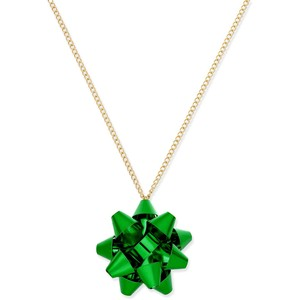 Holiday Arcade Bow Pendant Necklace Green
