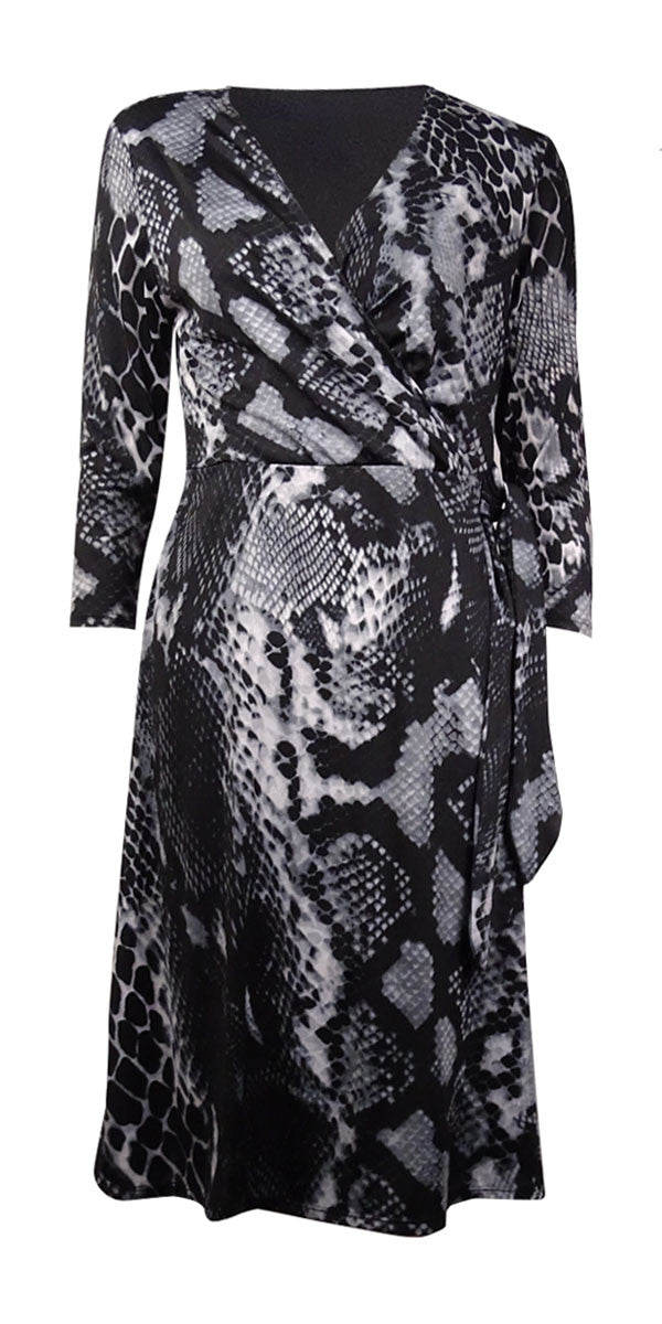NY Collection B-Slim Women's Snakeskin Printed Faux Wrap Dress Size XLarge