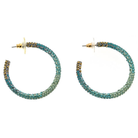 c.A.K.e. by Ali Khan Silver-Tone Turquoise Crystal Encrusted Hoop Earrings