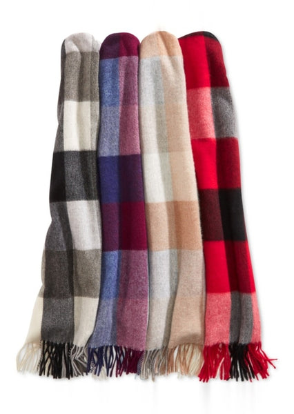 Charter Club Buffalo Check Cashmere Scarf Heather Camel