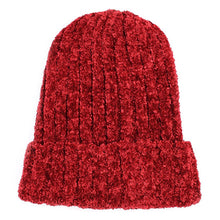 Charter Club Chenille Shaker Cuff Knit Beanie Hat Cherry