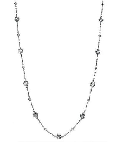 Charter Club Women's Metallic Silver-tone Clear Channel Long Necklace