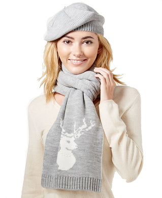 Charter Club Embellished 2-Pc. Scarf & Hat Gift Set Grey, One Size
