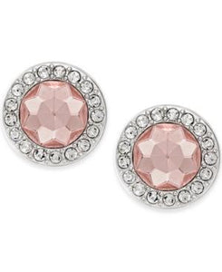 Charter Club Silver Tone Pink Stone Round Stud Earrings