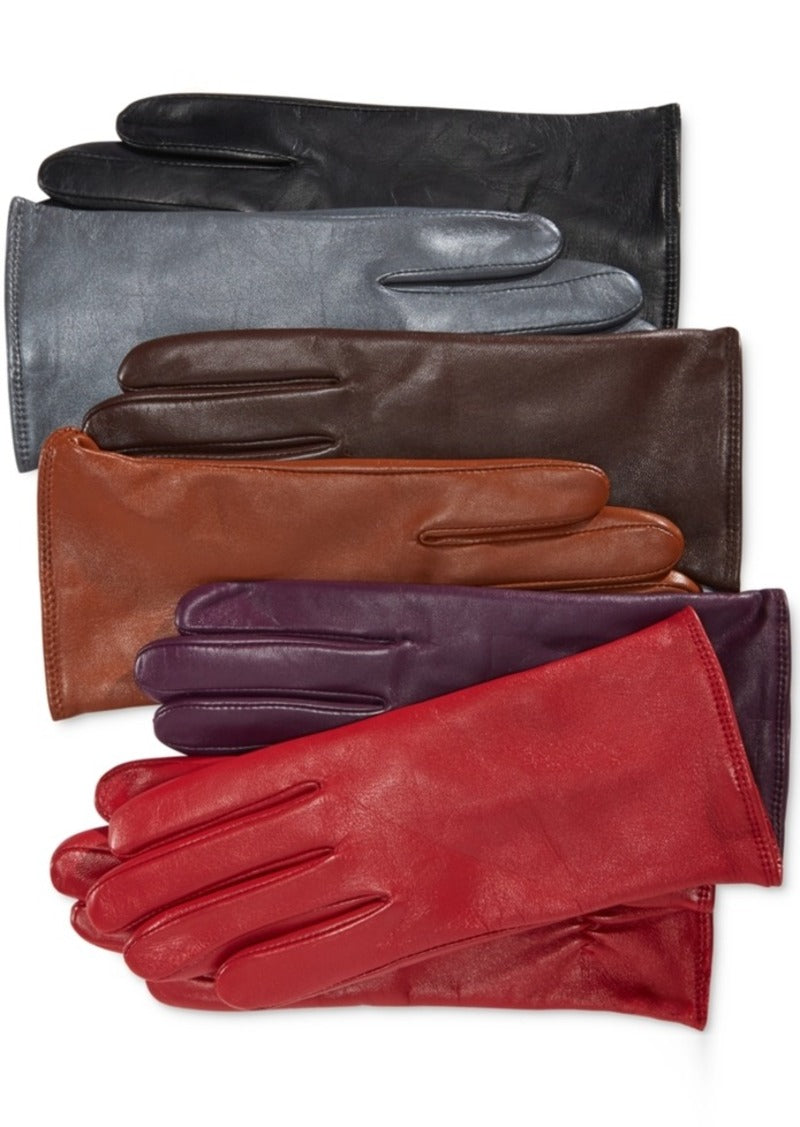 Charter Club Tech Palm Leather Gloves Port Red S