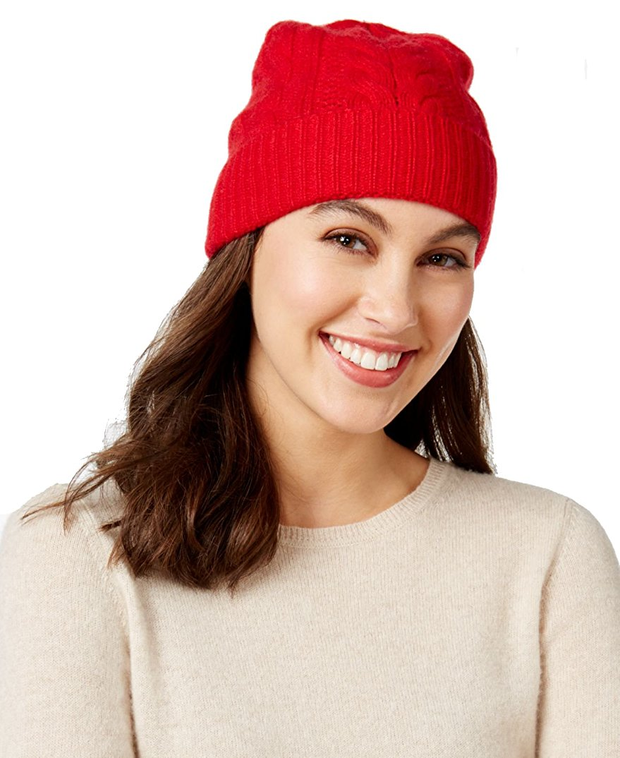 Charter Club Cable Cashmere Cuff Hat Tomato OS