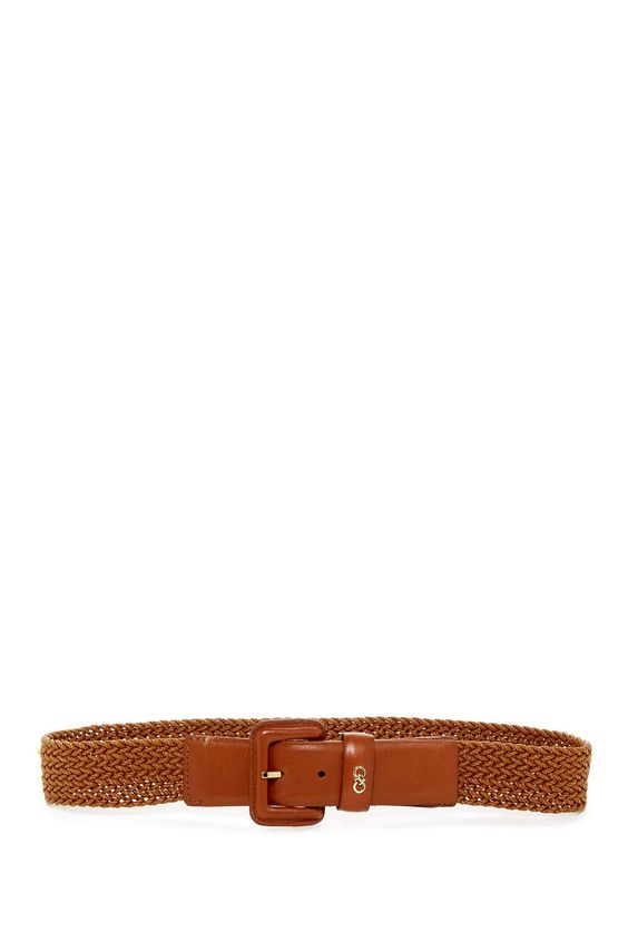 Cole Haan Women's Genuine Leather & Wax Cord Woven Belt