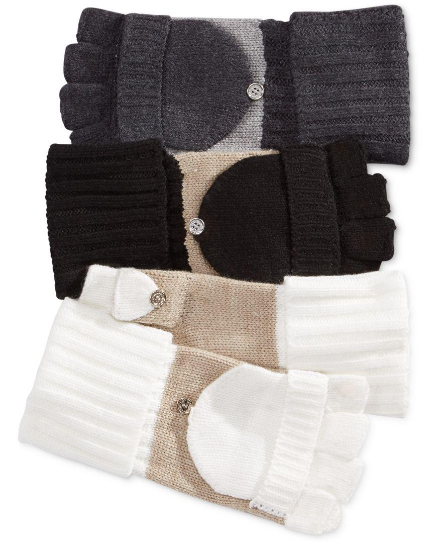 Calvin Klein Flip Top Gloves Heathered Mid Grey OS