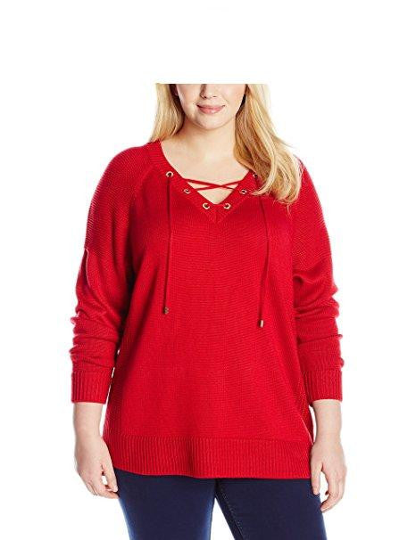 Calvin Klein Women's Plus-Size Lace Up V-Neck Sweater Size XXL