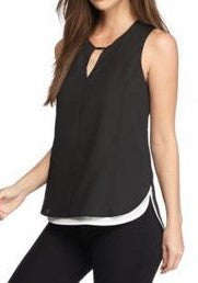 Calvin Klein Black Sleeveless Keyhole Layered Blouse