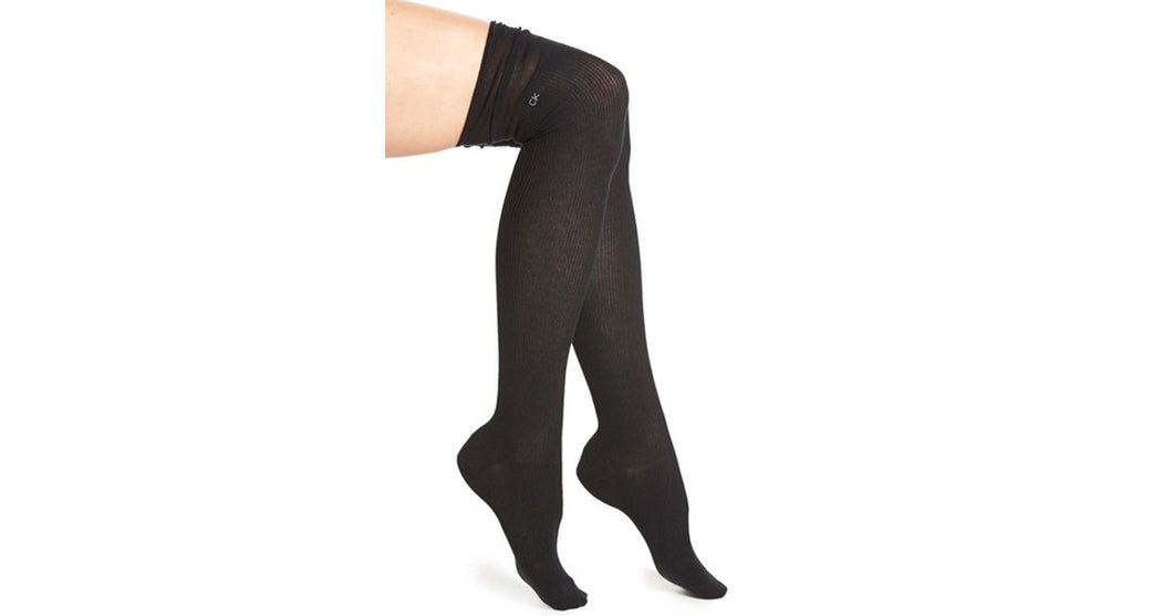 Calvin Klein Women's Luxurious Ribbed Over The Knee Socks Black