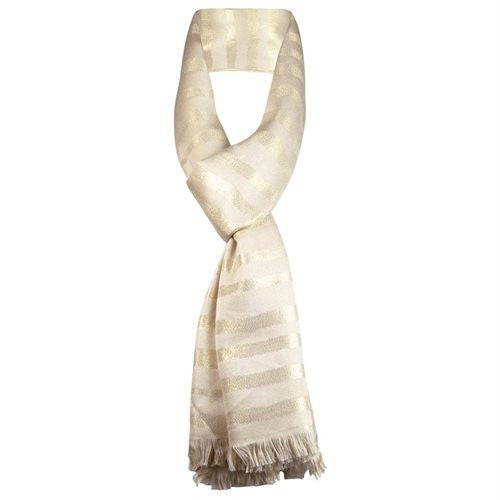 Calvin Klein Women's Striped Metallic Fringe Scarf