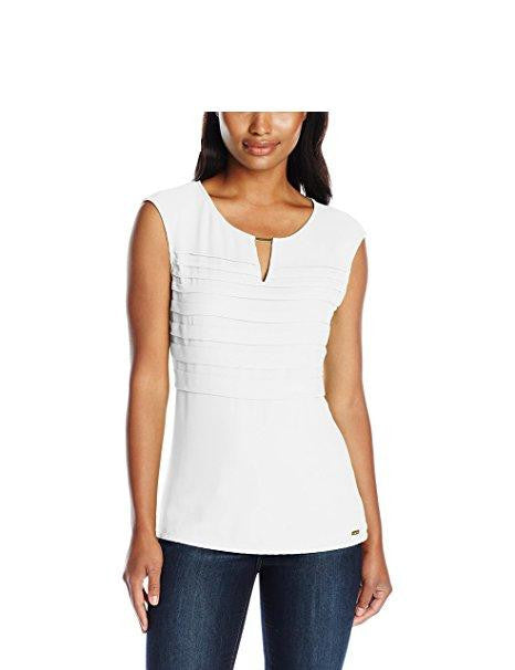 Calvin Klein Women's Cap-Sleeve Top with Pleated Chiffon Size Small
