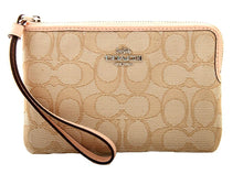 Coach Signature Outline Corner Zip Wristlet