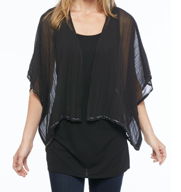 Collection XIIX Beaded Trim Kimono Black