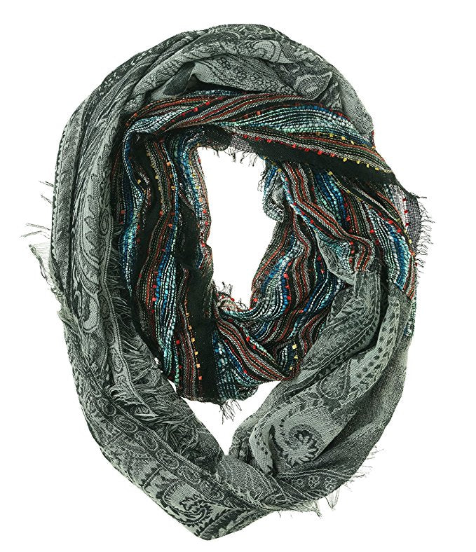 Collection XIIX Women's Woven Paisley Infinity Scarf Black Bright