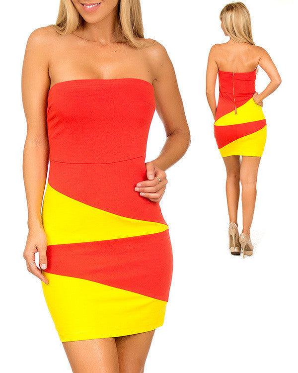 Stylebook Womens Block Strapless Dress Small