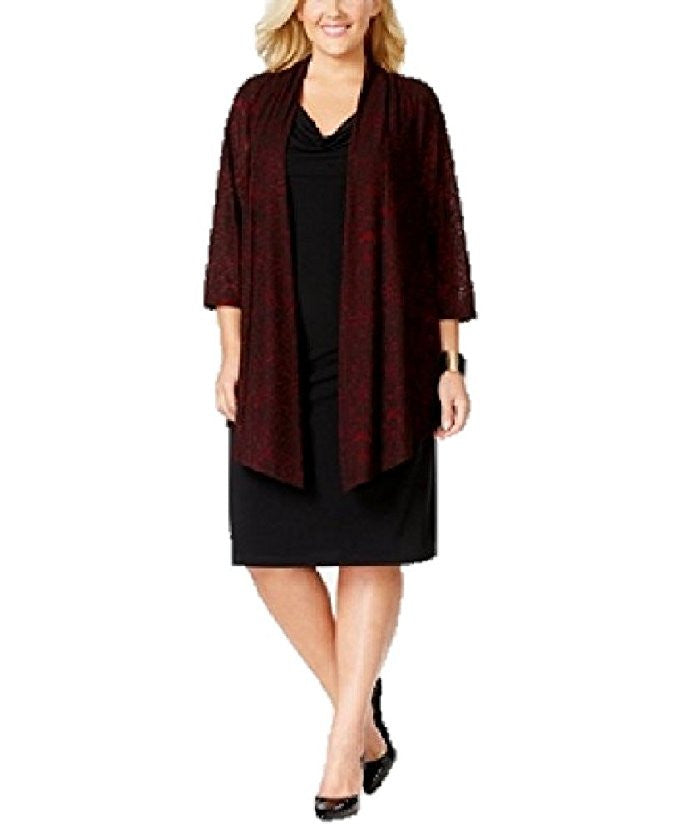 Connected Womens Plus Size Layered Jacket Dress Size 14W