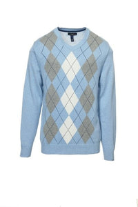 Club Room Men's Argyle V-Neck Sweater Large