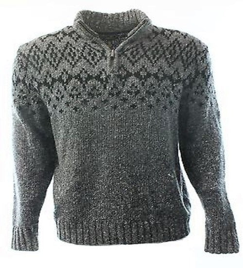 Club Room Charcoal Heather Gray Fair Isle Mens Sweater Large