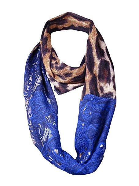 Echo Design Women's Ribbed Infinity Loop One Size Multi Blue Cheetah