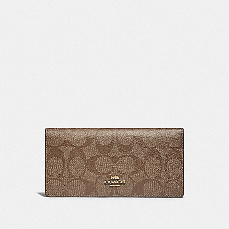 Coach Signature Canvas Bifold Wallet Khaki/Saddle 2