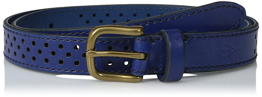 Fossil Dot Perforated Belt Sapphire Medium