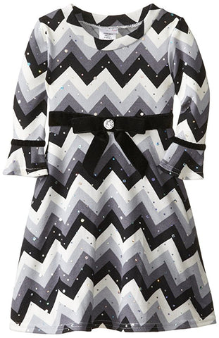 Sweetheart Rose Little Girl's Chevron Brushed Knit Fashion Dress Grey 6X