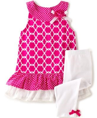 Kids Headquarters Little Girls' 2-Piece Printed Ruffle Tunic Size 6X