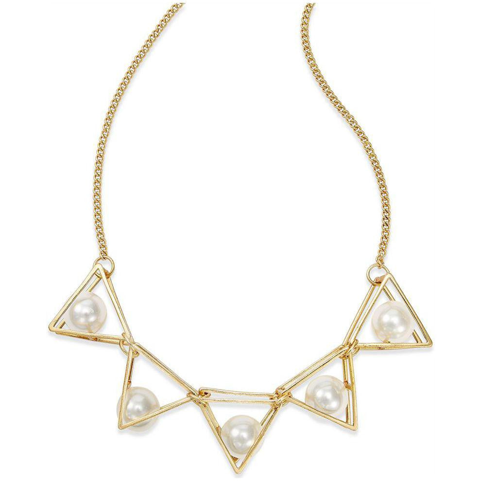 MCY Gold Tone Imitation Pearl Triangle Frontal Necklace