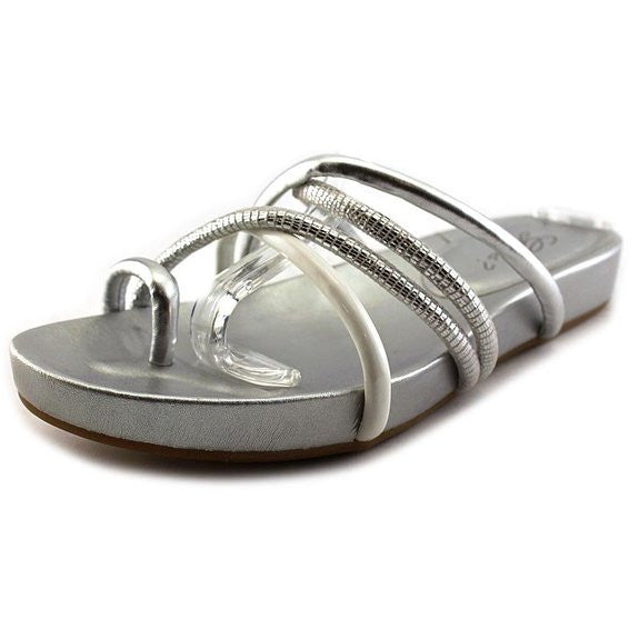 Guess Jiyana4 Flat Foobed Sandals Silver Multi Size 9M